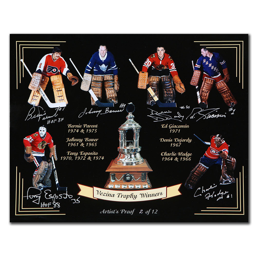 Vezina Trophy Winners Goalies Autographed 16x20 Photo Signed By 6