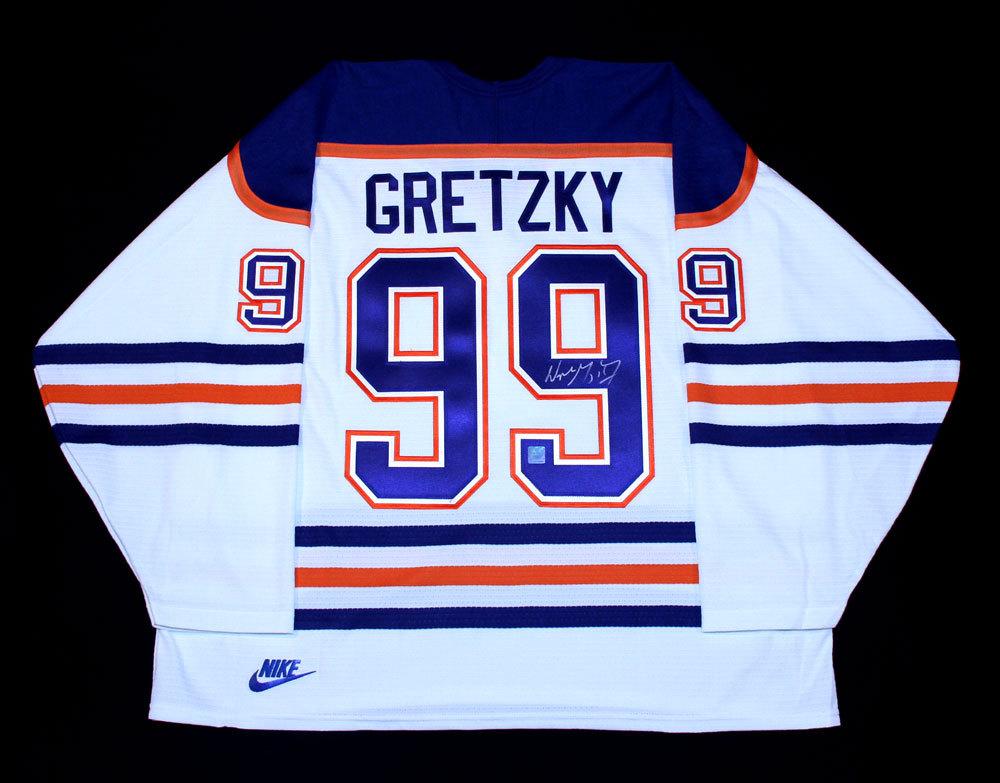 Wayne Gretzky  99 - Autographed Edmonton Oilers Vintage White Nike Replica  Hockey Jersey d786b4321