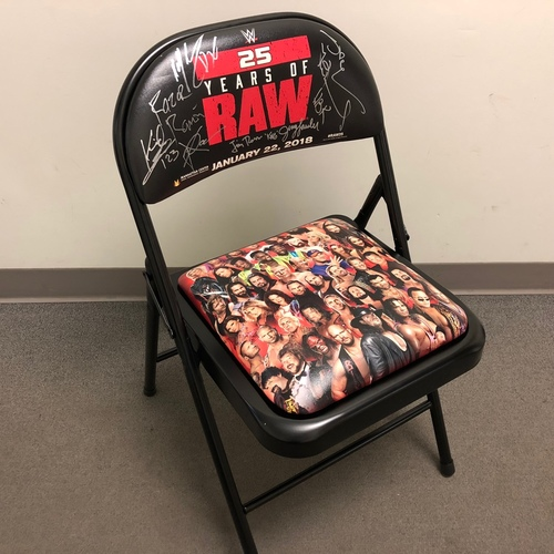 "Photo of ""RAW 25"" Autographed Event Chair (Shawn Michaels, Razor Ramòn, XPac,Billy Gun, Jim Ross, & Jerry ""The King"" Lawler)"