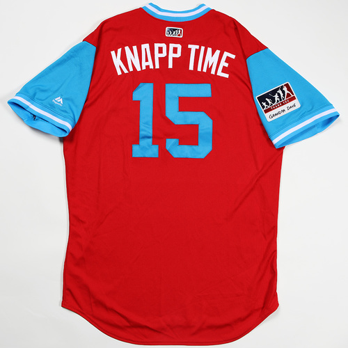 "Photo of Andrew ""Knapp Time"" Knapp Philadelphia Phillies Game-Used Jersey 2018 Players' Weekend Jersey"