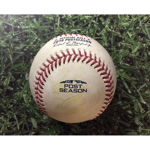 Photo of Game-Used Baseball NLDS Game 1 COL@MIL 10/04/18 - Corbin Burnes - Carlos Gonzalez: Triple