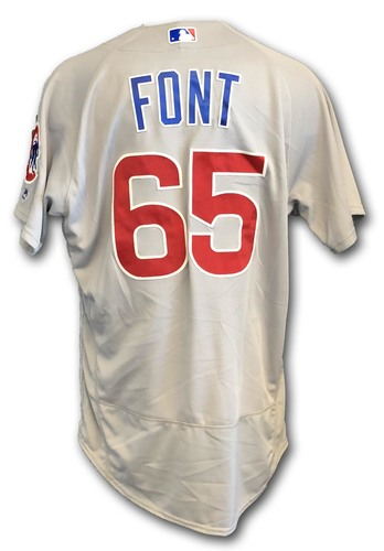 Photo of Franklin Font Game-Used Jersey -- Opening Day 2018 -- Cubs at Marlins -- 3/29/18