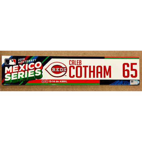 Photo of 2019 Mexico Series - Game Used Locker Tag -Caleb Cotham -  Cincinnati Reds