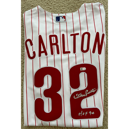 "Photo of Steve Carlton ""HOF 94"" Autographed White Phillies Replica Jersey"