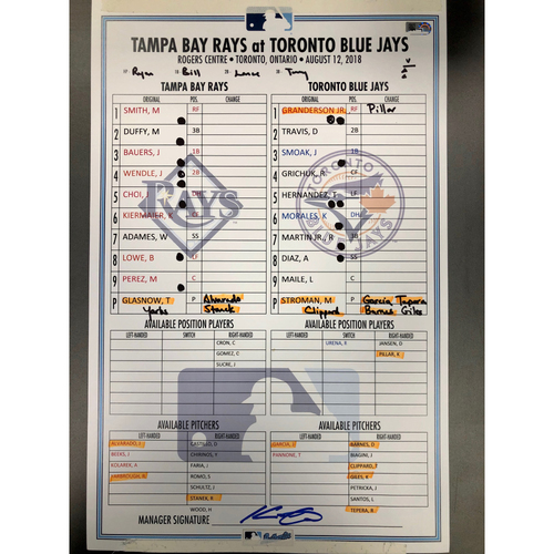 Photo of Game Used Lineup Card: Tyler Glasnow (5.0IP, ND, 6 SO, 2H) and Marcus Stroman (5.0IP, ND, 2 SO, 5 H) - August 12, 2018 at TOR