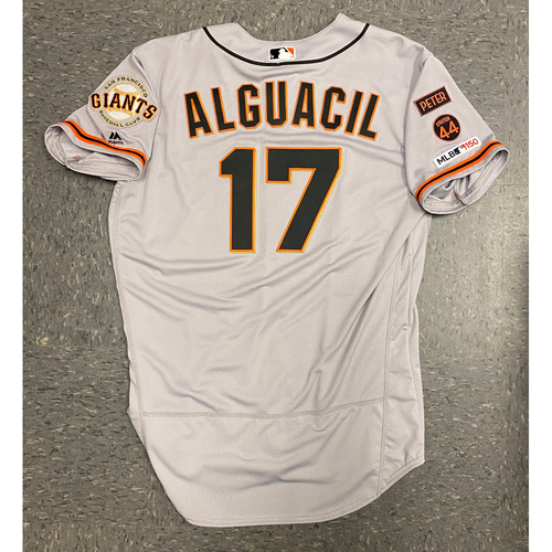 Photo of 2019 Game Used Road Opening Day Gray Jersey worn by #17 Jose Alguacil on 3/28 @ San Diego Padres - Size 46
