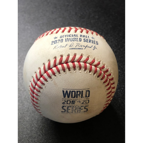 Photo of Game-Used Baseball - 2020 World Series - Tampa Bay Rays vs. Los Angeles Dodgers - Game 6 - Pitcher: Julio Urias, Batters: Manuel Margot (Fly Out to RF), Michael Brosseau (Foul) - Top 9