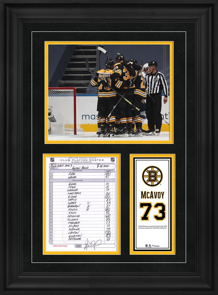 Charlie McAvoy Boston Bruins Framed Original Line-Up Card from August 5, 2020 vs. Tampa Bay Lightning - First Goal of the 2020 Postseason