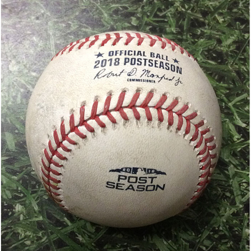 Photo of Game-Used Baseball NLDS Game 1 COL@MIL 10/04/18 - Josh Hader - Trevor Story: Strikeout Swinging (Hader's 2nd Career Postseason Strikeout)