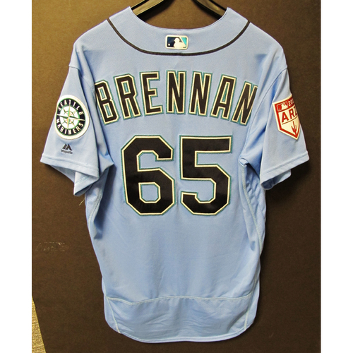 Photo of Brandon Brennan Game Used Light Blue Spring Training Jersey 2019  Exhibition Game - SD @ SEA 3-26-2019