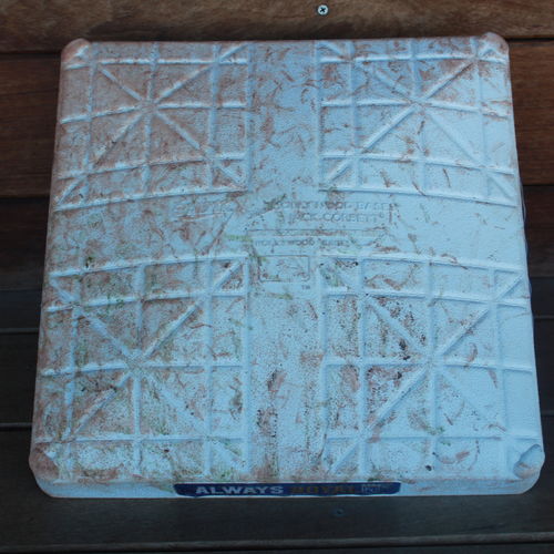 Photo of Game-Used 1st Base: Whit Merrifield 14th Career Triple - Ties George Brett's 30 Game Hit Streak (SEA @ KC - 4/9/19 - Innnings 1-5)