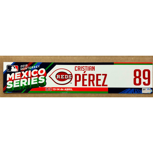 Photo of 2019 Mexico Series - Game Used Locker Tag -Cristian Perez -  Cincinnati Reds