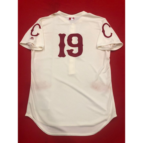 Photo of Joey Votto -- Game-Used Jersey -- 1912 Throwback Game (Starting 1B: Went 0-for-3, BB) -- Dodgers vs. Reds on May 19, 2019