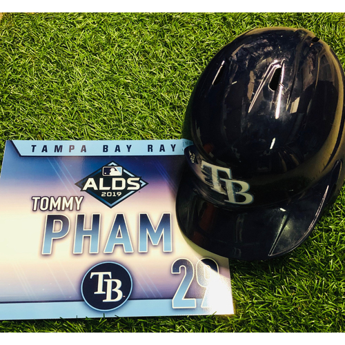 National Keratoconus Foundation: Tommy Pham - Game-Used ALDS Helmet and Game-Used ALDS Locker Tag