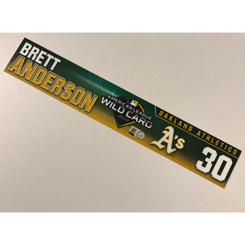 Photo of Game-Used Brett Anderson 2019 A.L. Wild Card Game Locker Nameplate