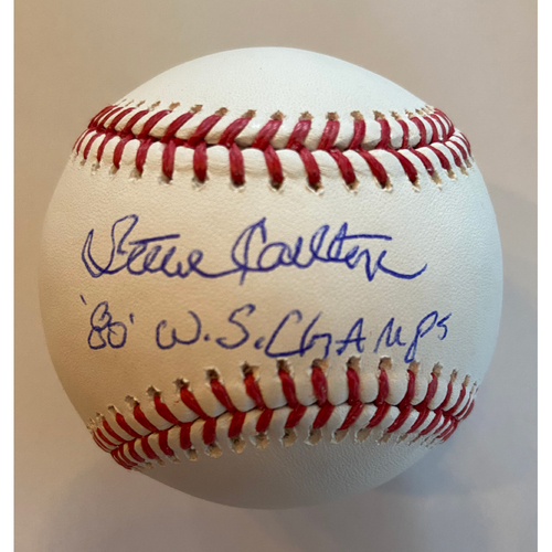 "Photo of Steve Carlton ""80 WS Champs"" Autographed Baseball"