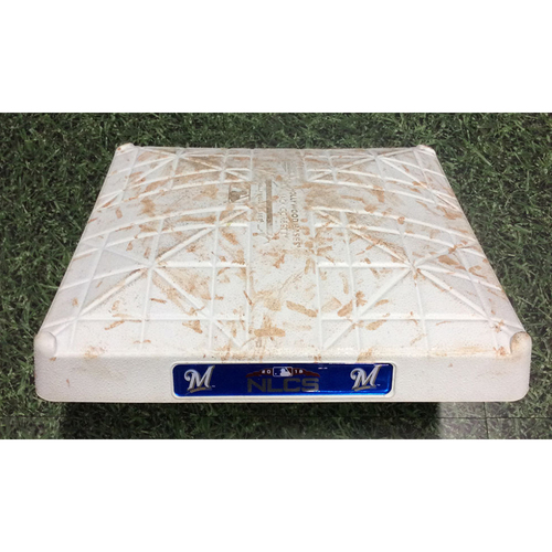 Game-Used 2nd Base LAD@MIL NLCS Game 2 (10/13/18) - Innings 4-6 - Arcia & Shaw Solo HRs