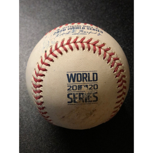 Photo of Game-Used Baseball - 2020 World Series - Tampa Bay Rays vs. Los Angeles Dodgers - Game 6 - Pitcher: Nick Anderson, Batter: Corey Seager (Wild Pitch, Barnes Scores) - Bot 6