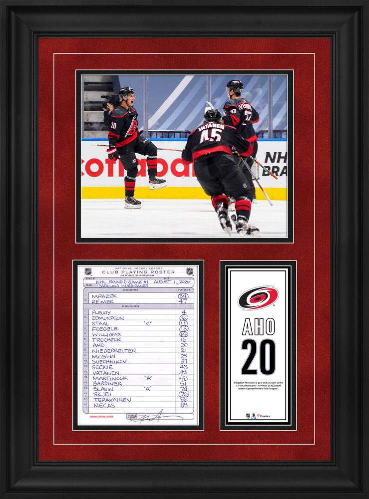 Sebastian Aho Carolina Hurricanes Framed Original Line-Up Card from August 1, 2020 vs. New York Rangers - Goal and Assist in Game One