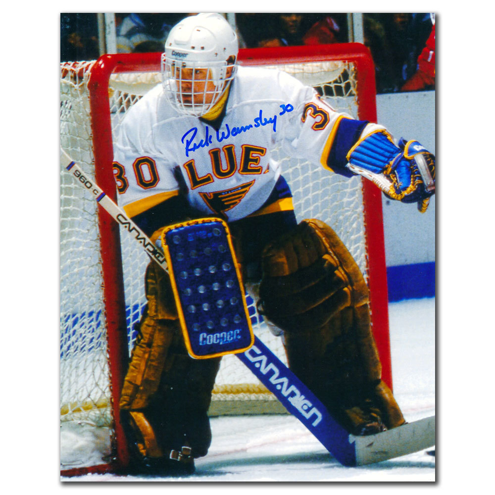 Rick Wamsley St. Louis Blues WHITE JERSEY Autographed 8x10
