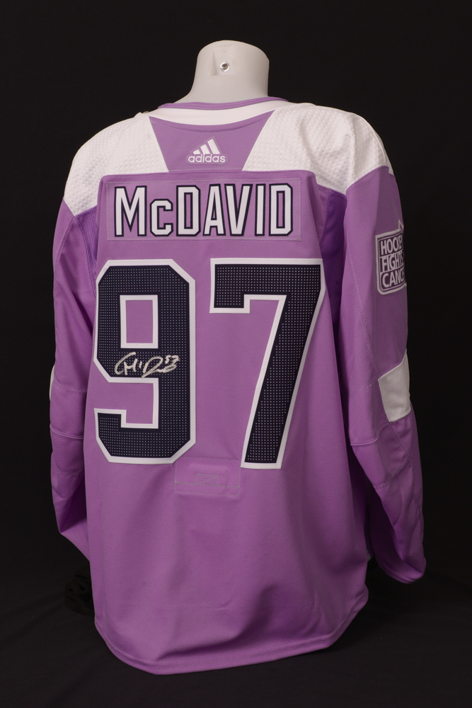 Connor McDavid #97 - Autographed 2018-19 Edmonton Oilers Pre-game Warm-Up Worn Hockey Fights Cancer Jersey