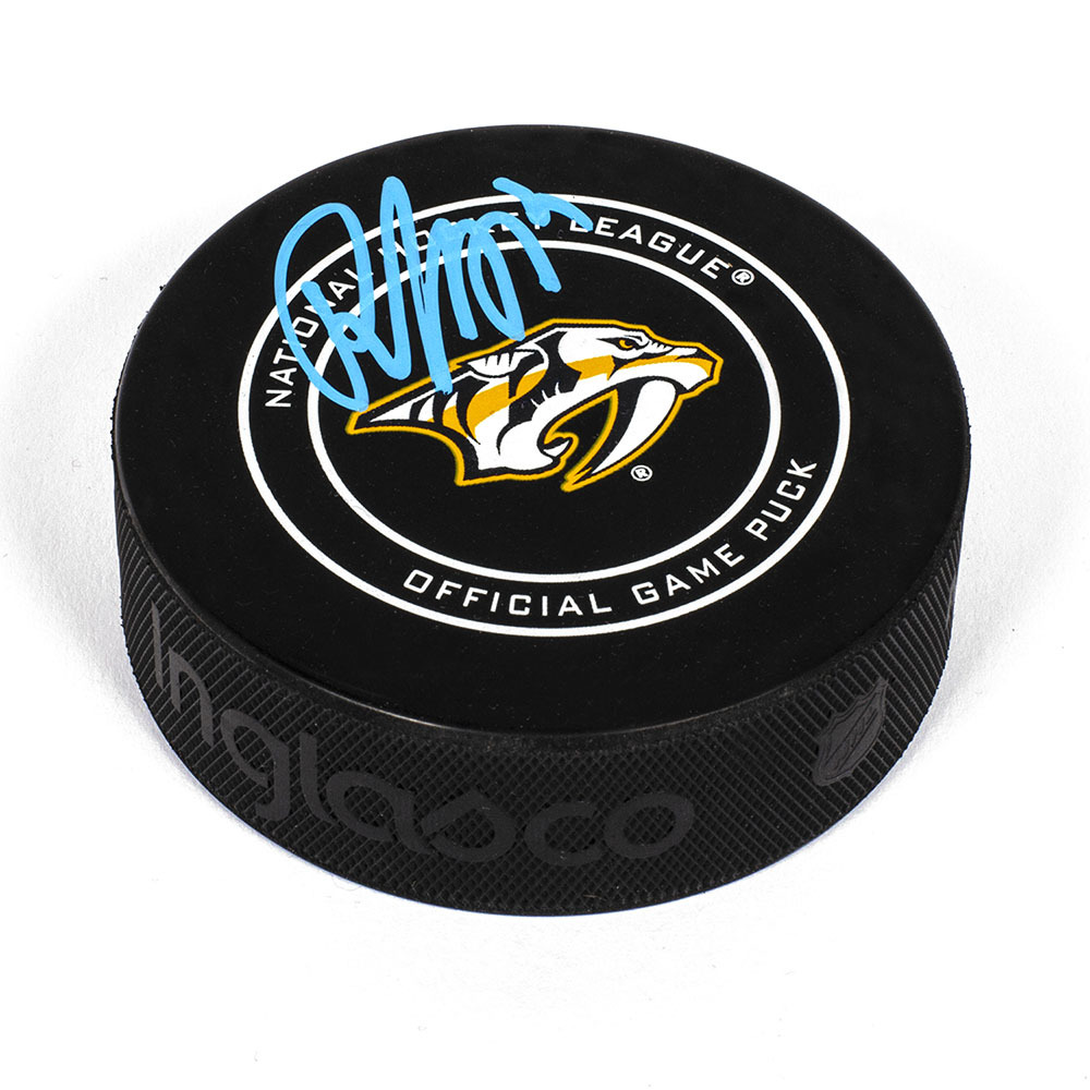 Roman Josi Nashville Predators Autographed Game Model Hockey Puck