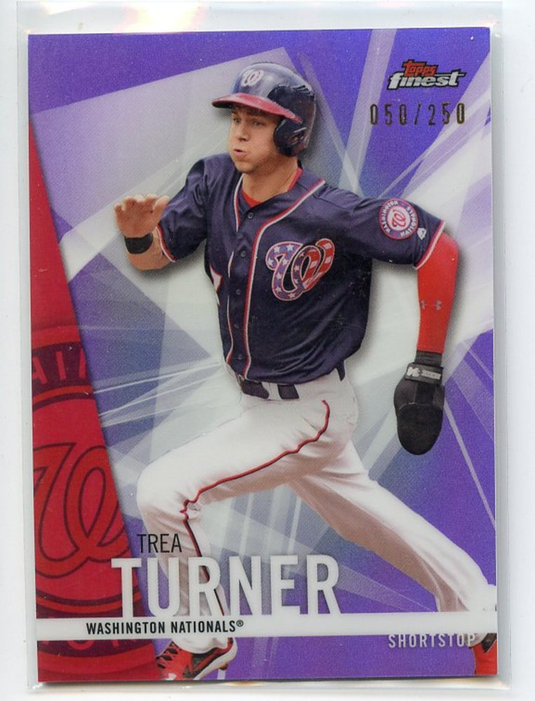 2017 Finest Purple Refractors #7 Trea Turner