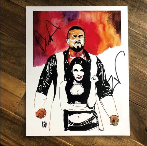 Photo of Andrade & Zelina Vega SIGNED 11 x 14 Rob Schamberger Print