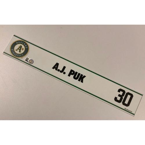Photo of Team Issued A.J. Puk 2018 Spring Training Locker Nameplate