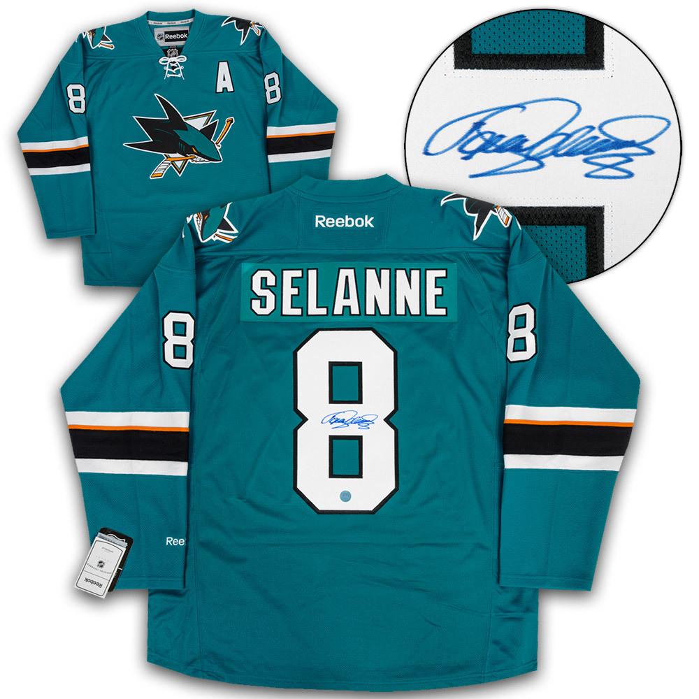 Teemu Selanne San Jose Sharks Autographed Reebok Premier Hockey Jersey