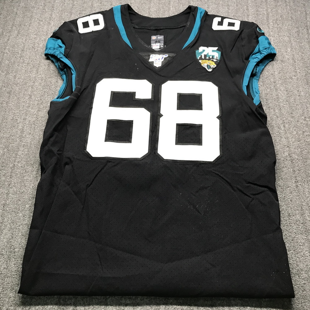 London Games - Jaguars Andrew Norwell Game Used Jersey (11/3/19) Size 46 with 25 Seasons Patch
