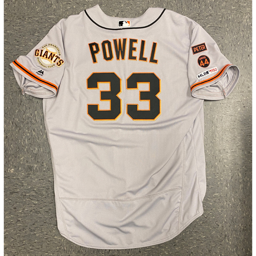 Photo of 2019 Game Used Road Opening Day Gray Jersey worn by #33 Alonzo Powell on 3/28 @ San Diego Padres - Size 52