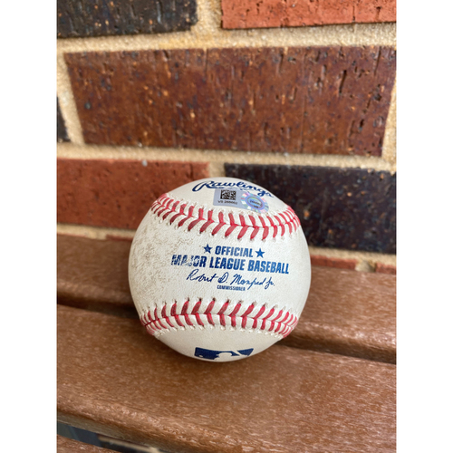 Photo of Marcell Ozuna MLB Authenticated Game Used 3-Run Home Run Baseball vs Philadelphia Phillies (8/21/20)