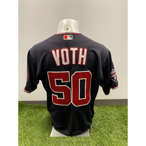Photo of Austin Voth 2020 Game-Used World Series Champions Navy Script Jersey