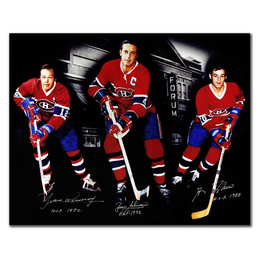 Yvan Cournoyer Jean Beliveau Guy Lafleur Montreal Canadiens HOF Autographed 16x20 Photo