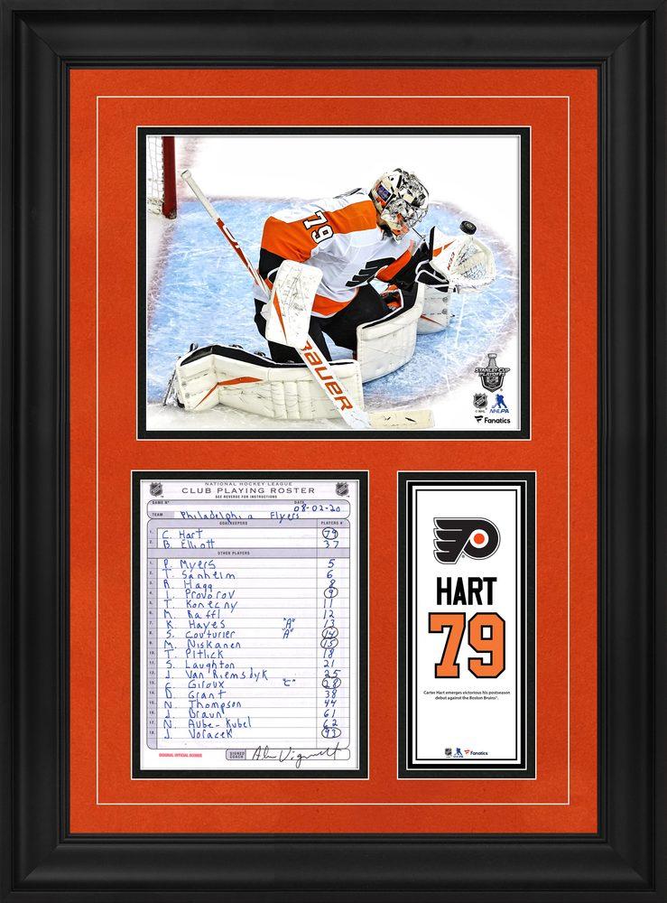 Carter Hart Philadelphia Flyers Framed Original Line-Up Card from August 2, 2020 vs. Boston Bruins - First NHL Postseason Win