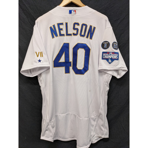 Photo of Jimmy Nelson Game-Used Gold Trim 2021 Opening Weekend Home Jersey