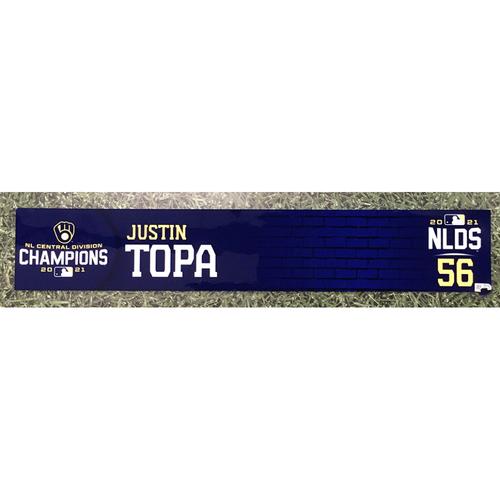 Photo of Justin Topa 2021 Team-Issued NLDS Locker Nameplate