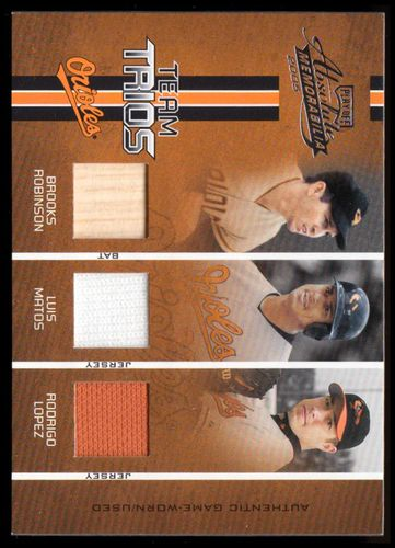 Photo of 2005 Absolute Memorabilia Team Trios Swatch Single #35 Brooks Robinson Bat/Luis Matos Jsy/Rodrigo Lo