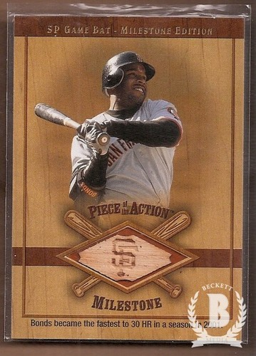 Photo of 2001 SP Game Bat Milestone Piece of Action Milestone #BB Barry Bonds