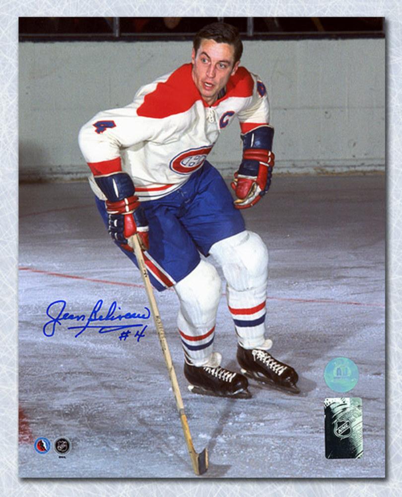 Jean Beliveau Montreal Canadiens Autographed Original Six Action 8x10 Photo