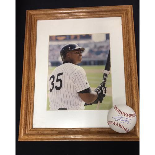 Frank Thomas Framed Photo and Autographed Baseball