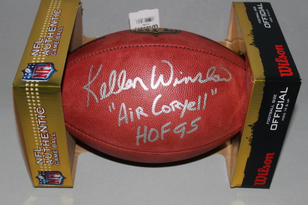 HOF - CHARGERS KELLEN WINSLOW SIGNED AUTHENTIC FOOTBALL W/ AIR CORYELL INSCRIPTION