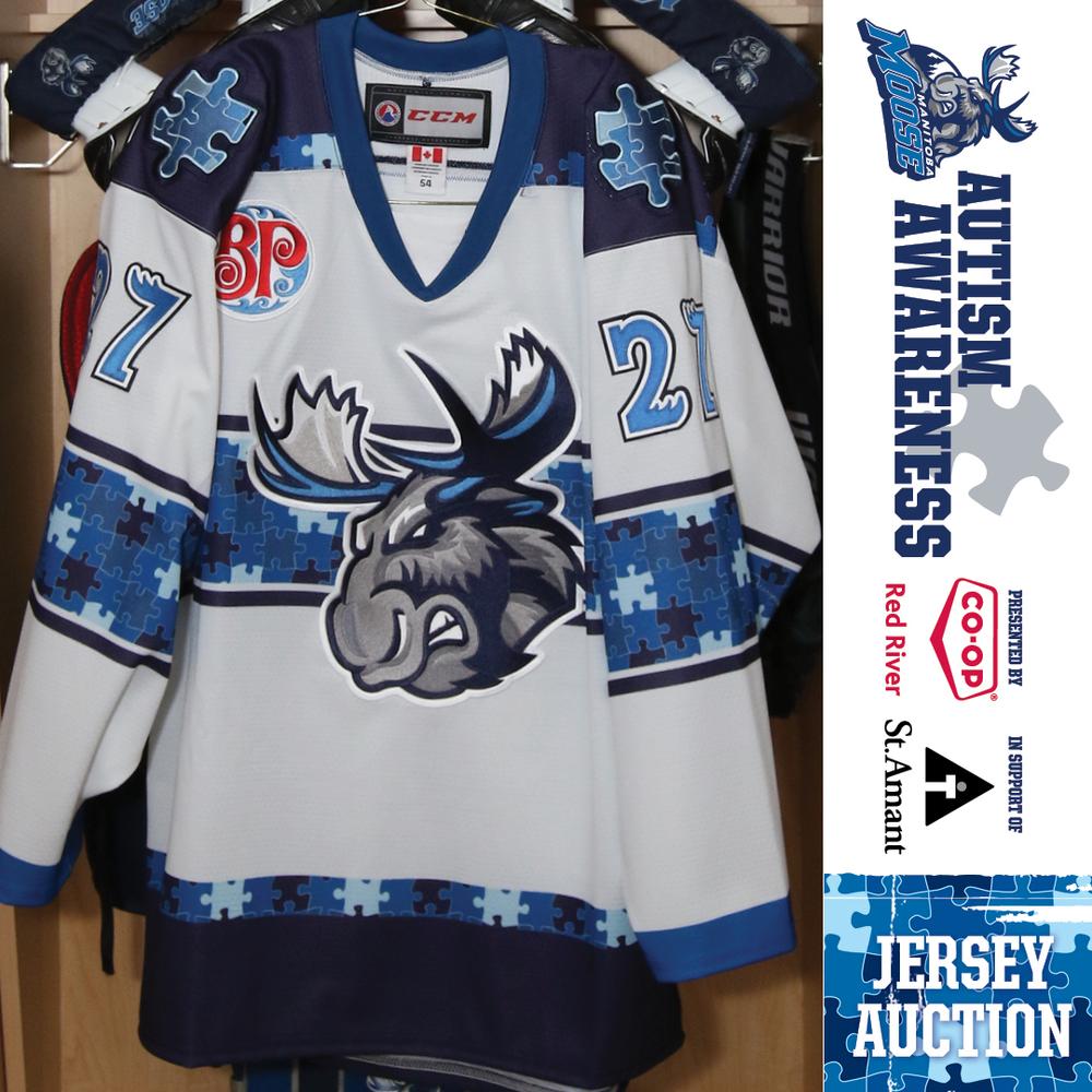 MASON APPLETON Manitoba Moose Game Worn Autism Awareness Jersey