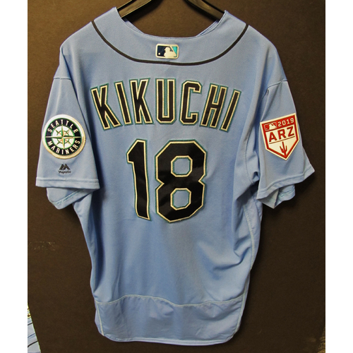 Photo of Yusei Kikuchi Team Issued Light Blue Spring Training Jersey 2019  Exhibition Game - SD @ SEA 3-26-2019