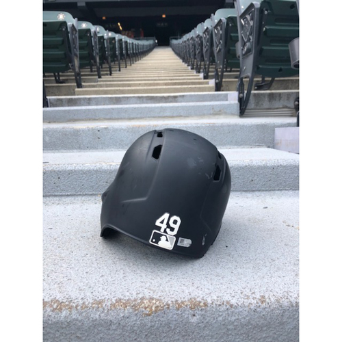 Photo of Ryan Cordell 2019 Team Issued Black Matte Batting Helmet
