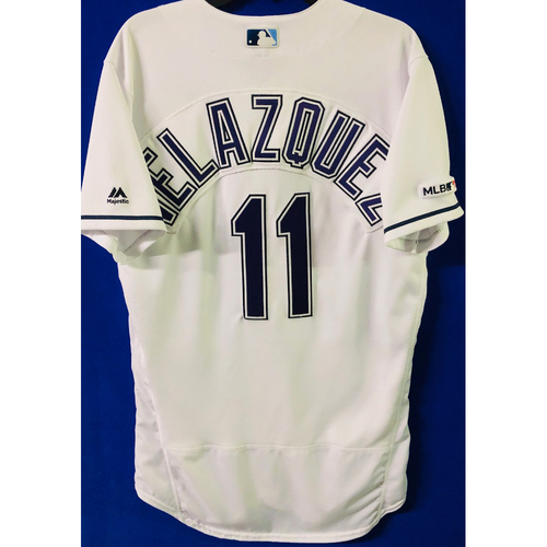 Photo of Game-Used Devil Rays Jersey: Andrew Velazquez (size 42) - May 11, 2019 v NYY - FIRST MLB SEASON