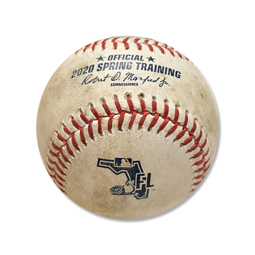 Photo of Game Used Baseball - 2020 Spring Training - Jeurys Familia to Dylan Carlson - Fly Out - 2nd Inning - Mets vs. Cardinals - 2/23/20