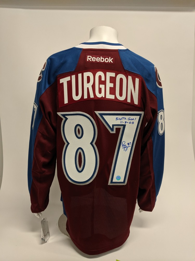 Pierre Turgeon Colorado Avalanche Signed & Dated 500th Goal Reebok Hockey Jersey
