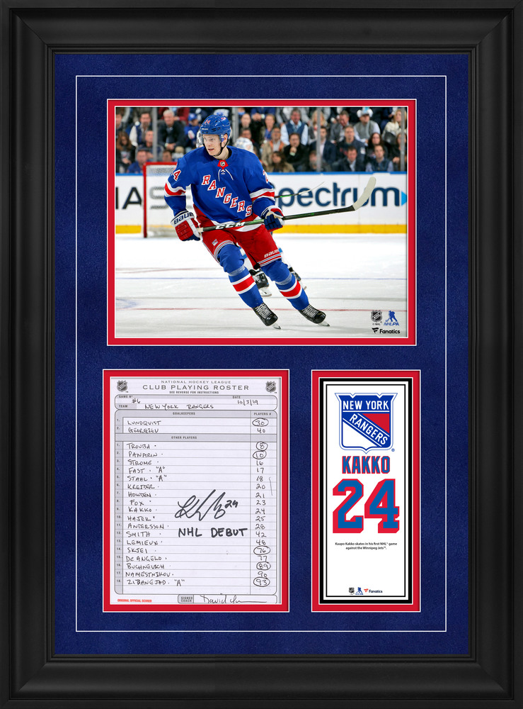 Kaapo Kakko New York Rangers Framed Autographed Original Line-Up Card from October 3, 2019 vs. Winnipeg Jets with